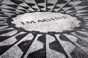 A mosaic that says Imagine.