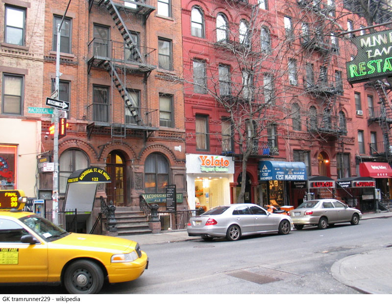 Traffic and storefronts in Greenwich Village New York