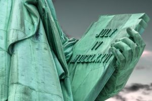 A photo of the tablet held by the Statue of LIberty